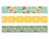 Colte turquoise roses washi tape sampler set - 3 metres (3 yards)