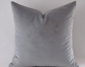 Gray Velvet Pillow Covers, Gray Pillows, Decorative Velvet Pillows, Throw Pillows,12,14,16,18,20,22,24,26,28,30 inch