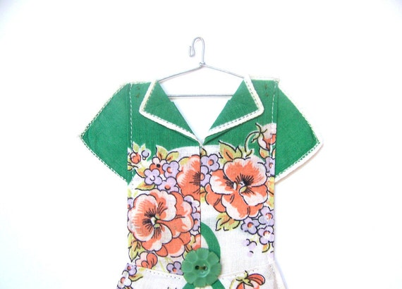 Hanky Dress - Green and Orange Floral