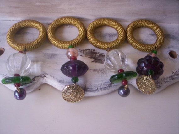 Glass beaded napkin rings jeweled ring metal