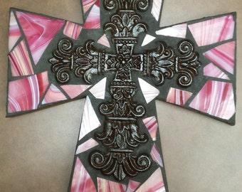 Dark Pink Mosaic Glass Tile Cross -  with cast iron cross center