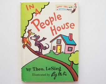 "Children's Book ""In A People House"" by Theo. LeSieg Hardcover Book Bright and Early Books, Story Book, Word Book"