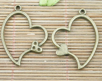 25pcs antiqued bronze two heart charm pendents EF1262
