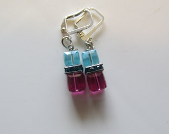 Swarovski Cube Earrings, Pink and Teal Earrings