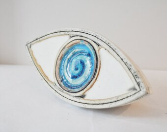 Large ceramic eye, high fire stoneware clay, ceramic eye sculpture, modern Greek ceramics, modern eye sculpture, eye decor, Greek blue eye