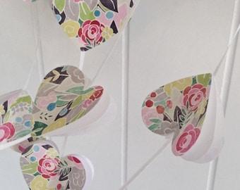 Paper garland. Heart Garland. Paper heart. Rustic wedding. Party garland. Birthday party. Flower garland.