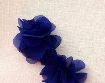 Royal blue chiffon hair clips