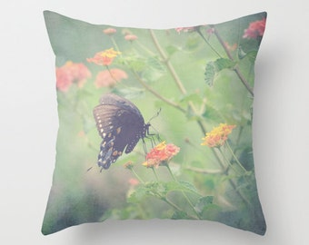 Toss Throw Pillow Case- Butterfly, Nature, Wildflowers,  RDelean, Photography, Decorative Toss pillow, Couch or Bed
