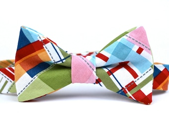 Boy's Bow Tie - Madras Plaid - Adjustable Hardware