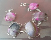 Worldwide - Free Shipping-  botswana Agate gemstone bracelet in a silver setting handcrafted in its own pretty gift box