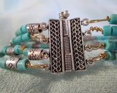 Turquoise and sterling silver beaded bracelet, handmade jewelry, tribal jewelry