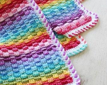 Crochet Pattern, Basket of Rainbows, Baby, Afghan, Throw