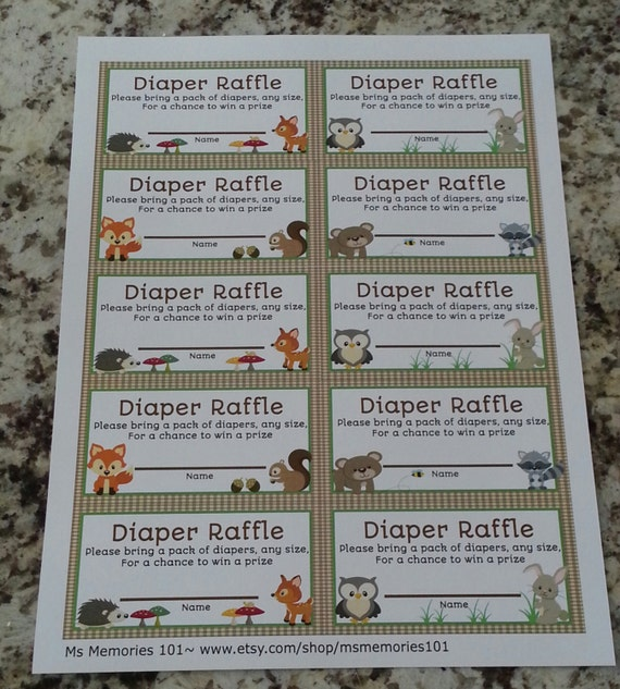 printable woodland animals diaper raffle tickets by