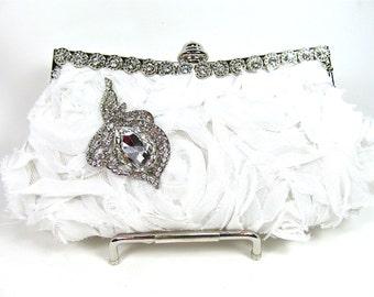 White Organza Rosette Rhinestone Shabby Chic Bridal Clutch,  Wedding Purse