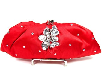 Bridal Clutch, Red Satin Crystal Bridal Clutch, Red Wedding Purse, Bridesmaid Clutch, Red Satin Crystal Evening Bag