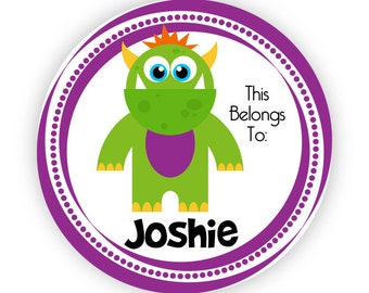 Name Tag Stickers - Giant Green and Purple Scary Monster Personalized Name Label Tag Stickers - 20 Round Tags - Back to School Name Label