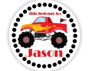 Personalized Name Label Stickers - Black Polka Dots, Little Red Monster Truck Name Tag Stickers - Round Tags - Back to School Name Labels