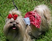 DOG DRESS - Denim Bandana - Red Puppy Dress - Blue Jean