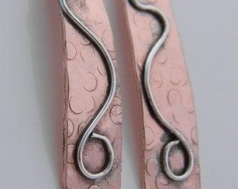 Copper Earrings, Copper Dangle Earrings, Dangling Earrings, Copper and Silver Earrings, Long Earrings