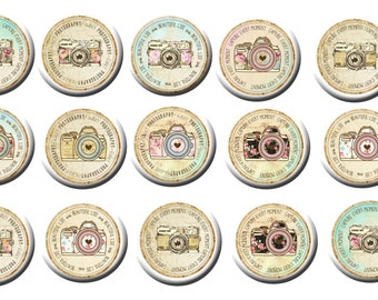 "15 Vintage Rose Pattern Camera Images Photography Party Favors 1"" FLAT back Or PIN back buttons"