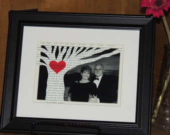Perfect Anniversary Gift - Unique Wedding Gift - First Dance Song Lyric Tree with YOUR PICTURE - 8x10 Framed