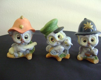 Three Adorable Vintage Owl Figurines