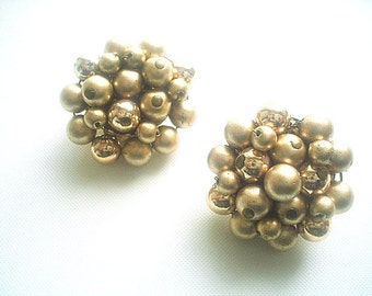 Gold Glass Bead Cluster Earrings Hand Wired 1950s Mad Men