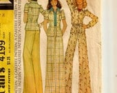 "A Mod Yoked, Fitted, Long or Short Sleeve Shirt or Shirt Jacket and Very Wide Leg Pants Pattern for Women: Size 12, Bust 34"" • McCall's 4199"
