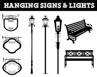 Hanging Signs, Park Bench, Street Lights Silhouettes // Lighting Silhouette // Commerical Use Clipart // Park Silhouettes