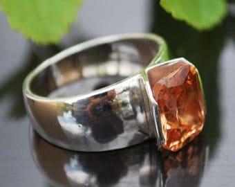 Large Gemstone Ring, Orange Gemstone Ring, Unique Silver Ring, Statement Ring, Wide Silver Ring, Unique Engagement Ring, Promise Ring
