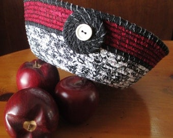 Black, Burgundy and White Fabric Coiled Basket