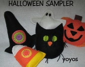 HALLOWEEN SAMPLER Bowl Fillers 5 Pieces Holiday Home Décor Jack O Lantern Cat Witch Hat Candy Corn Ghost Table Accents Gift Item
