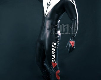 Best Man Gift / Siamese Moto Suit  /  Sexy Cool&Tight Man Latex Clothing,Latex Catsuit