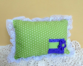 Tooth Fairy Pillow, Green Polka Dot Pillow, Green and Purple Mini Pillow, Ring Bearer Pillow, Can Be PERSONALIZED