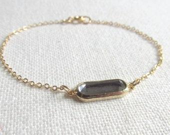 Charcoal Bracelet, Black Glass Stone, Gold Plate Chain, Dainty Modern Everyday Jewelry, Petite