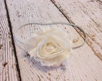 Shabby Chiffon Headband-Ivory-Newborn to Adult