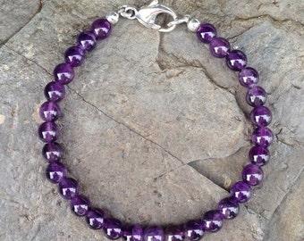 AMETHYST BEAD BRACELET // Men's Bracelet, Men's Bead Bracelet, 6mm Amethyst Beads, Sterling Silver