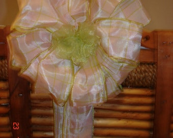Spring Pink and Green Plaid decoration for basket  gift, wreath or home decor