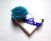 Blue Fabric Flower and Love on Black Bracelet, Handmade Jewelry by Dreambuzzer on Etsy