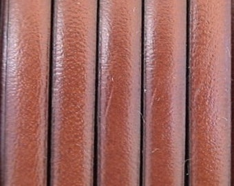 """1 meter /40"""" genuine leather  5mm flat Medium Brown first qualityleather cord"""