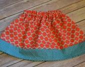 Baby girl/ toddler girl skirt-Coral, orange, teal chevron skirt- Size NB-9