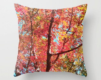 Fall Pillow, Autumn Decor, Fall Photography, Autumn Photo, Fall Decor, Autumn Throw Pillow, Fall Foliage Bedding, Autumn Bedding