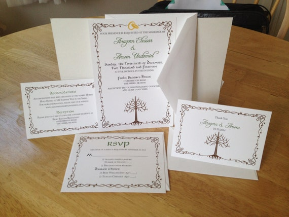 LOTR Lord of the Rings Wedding Invitation Suite - Tree of Gondor