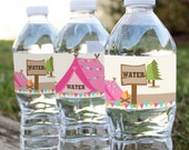 Camping Tent Party - Water Bottle Labels - Glamping Editable - Instant Download and Editable File - Personalize at home with Adobe Reader