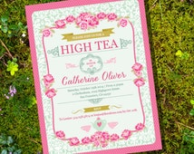High Tea Party Invitation - Instantly Downloadable and Editable File - Personalize and Print at home with Adobe Reader