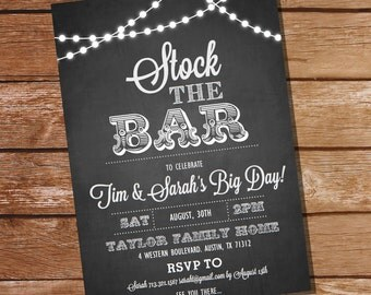 Chalkboard Stock The Bar Engagement Party Invitation  - Stock The Bar Invitation - Instant Download + Edit and Print with Adobe Reader