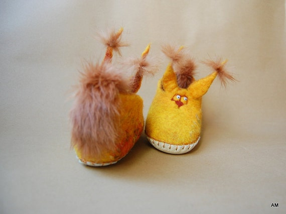 felted wool slippers for children yellow squirrel -gift - handmade -eco living- kids house shoes