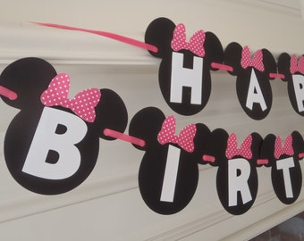 Minnie Mouse Birthday Banner with Custom Name Option 1st Birthday Party Supplies by FeistyFarmersWife