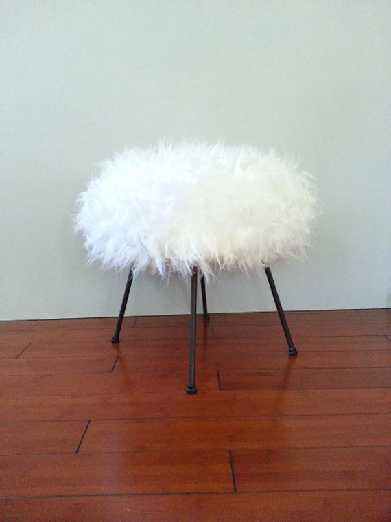 Vintage Retro Stool Foot Ottoman Vanity Stool White Faux