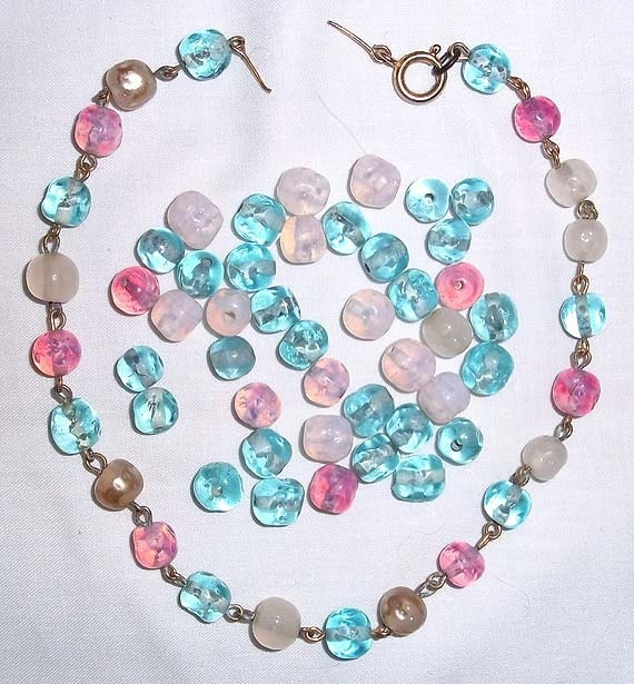 62 Old Large Lamp Wound Glass Beads Turquoise, Pink & Opalescent - Estate Find